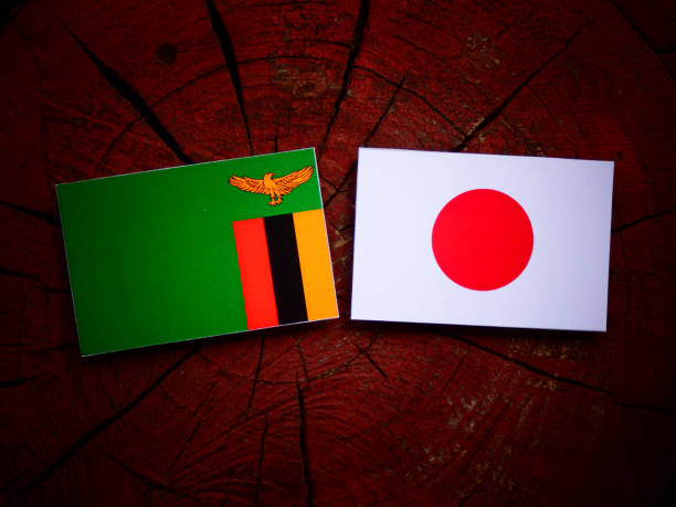 Zambian flag with Japanese flag on a tree stump isolated
